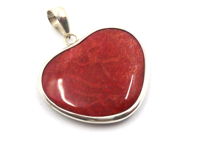 Red Coral & Sterling Silver Heart Pendant