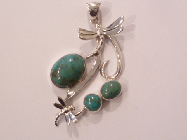 Sterling Silver & Turquoise Dragonfly Pendant