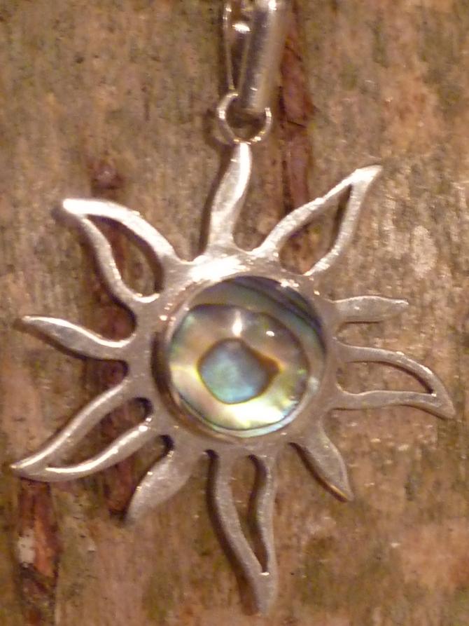 Silver & Paua Shell Sunburst Pendant