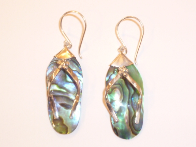 Sterling Silver & Paua Shell Flip Flop Earrings