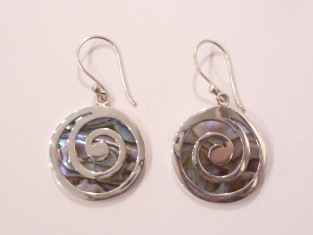 Sterling Silver & Paua Shell Spiral Earrings