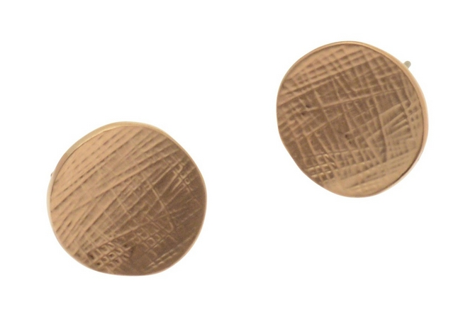 Rose Gold or Silver Button Stud Earrings