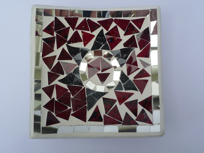Square Red Flower Design Mosaic Bowl