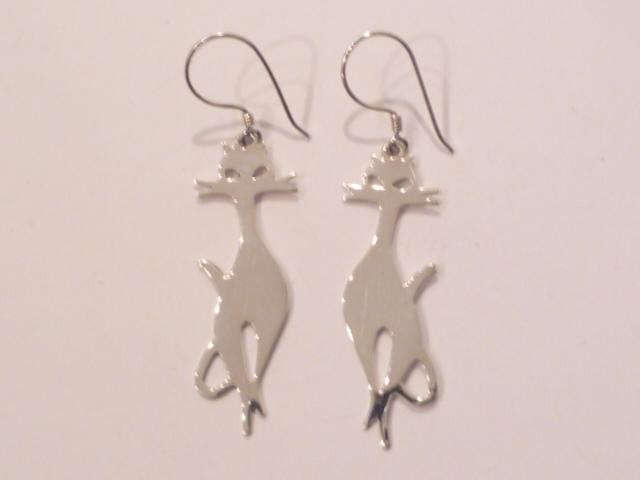 Sterling Silver Siamese Cat Earrings