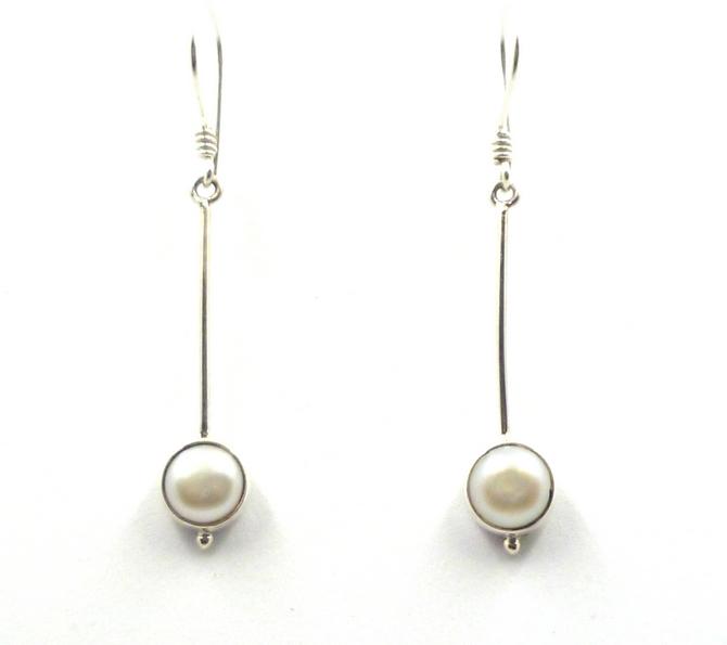 Sterling Silver Pearl Drop Earrings (L)
