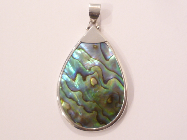 Sterling Silver Paua Shell Tear Drop Pendant