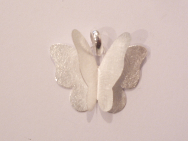 Brushed Sterling Silver Butterfly Pendant