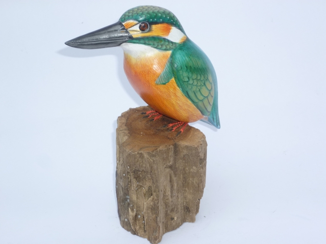 Hand Painted Wooden Kingfisher Statue