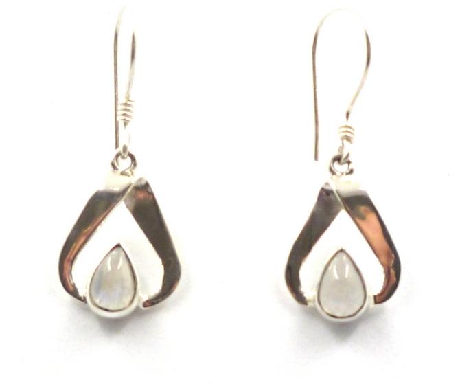 Sterling Silver Triangle Gemstone Earrings
