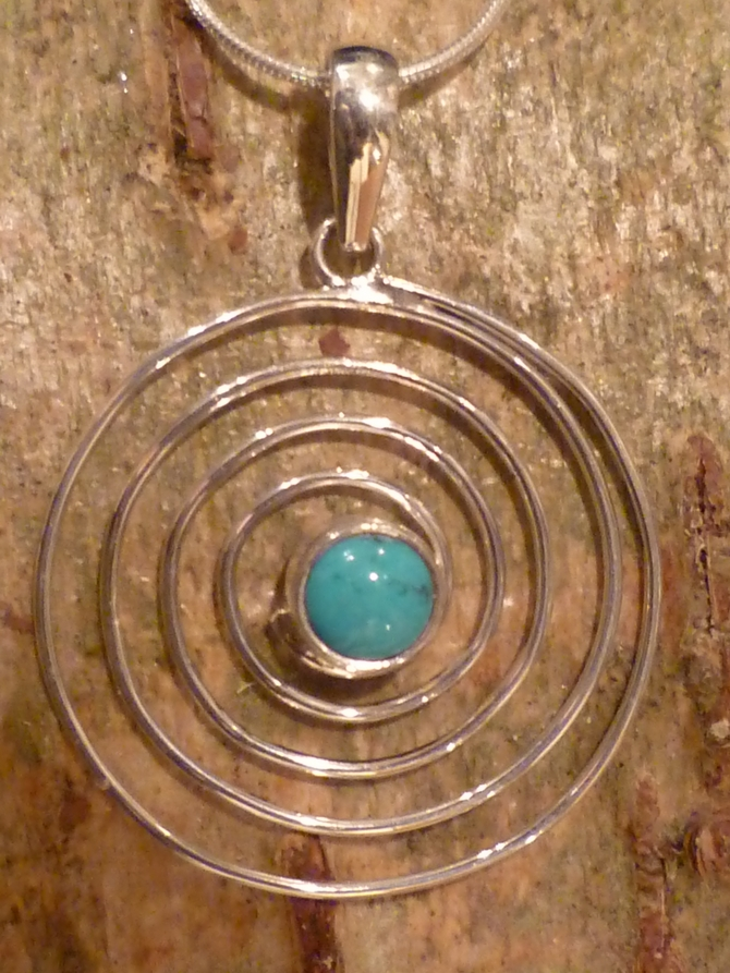 Turquoise & Silver Spiral Pendant