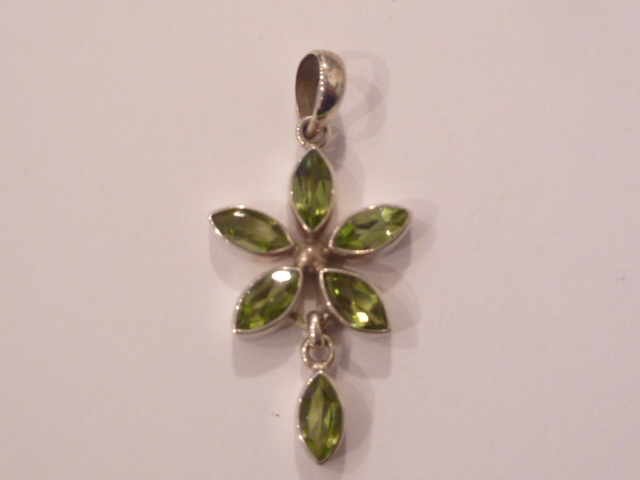 Sterling Silver Flower Pendant with Peridot