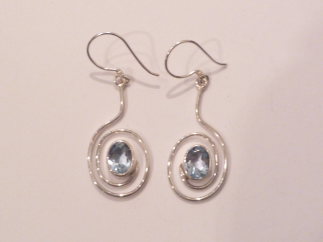 Blue Topaz, Amethyst or Turquoise Circular Sterling Silver Earrings