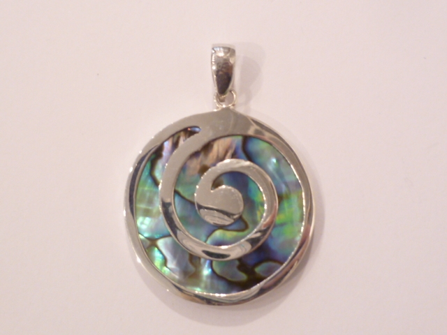 Sterling Silver & Paua Shell Spiral Pendant