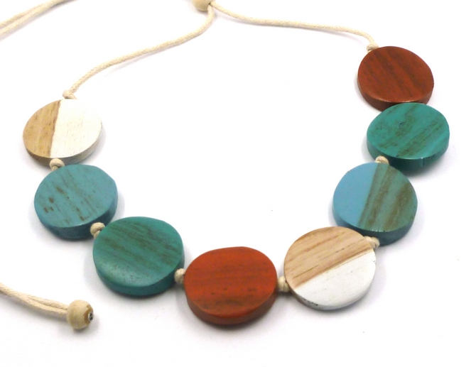 Blue/Orange/White Disc Wood Necklace (s)