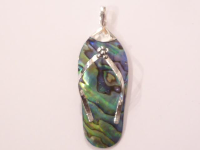 Sterling Silver Paua Shell Flip Flop Pendant