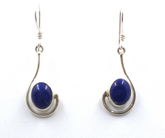 Asymetrical Sterling Silver Earrings in Lapiz Lazuli, Turquoise or Amethyst