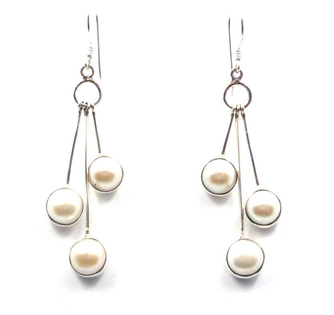 Sterling Silver Triple Pearl Earrings