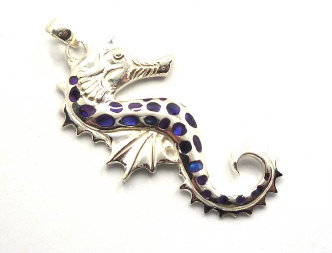 Sterling Silver & Paua Shell Seahorse Pendant