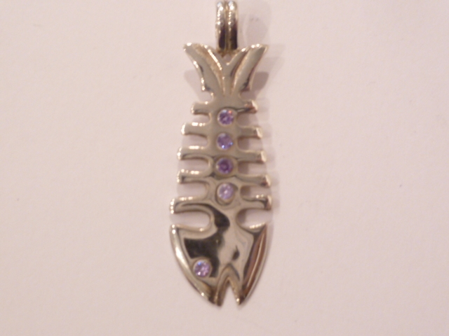Sterling Silver Fish Bone Pendant with Amethyst