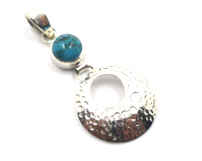 Hammered Sterling Silver Disc Pendant with Turquoise, Amethyst or Blue Topaz