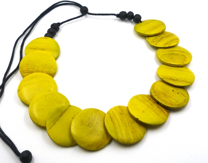 Yellow Disc Wood Necklace