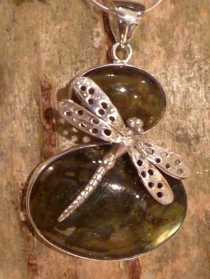 Silver & Labradorite Dragonfly Pendant