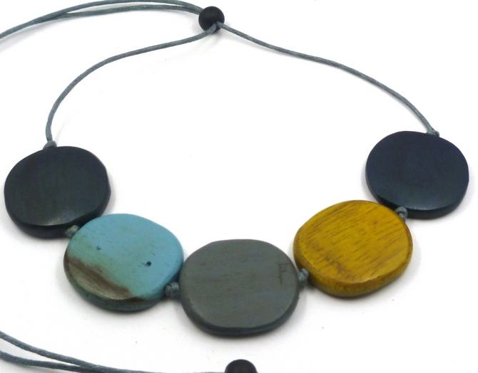 Blue/Grey/Yellow Disc Wood Necklace (m)