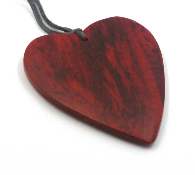 Red Wood Heart Pendant Necklace