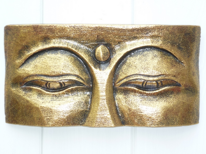 Gold Wooden Eyes of Buddha Wall Plaque (s)