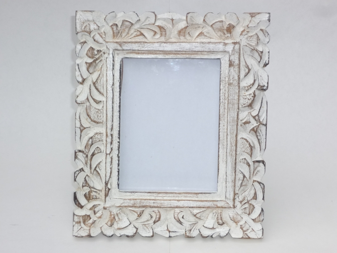 vintage white washed wooden photo frame leaf enlarge image - White Vintage Picture Frames
