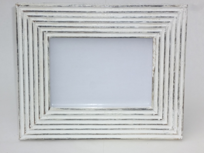 Vintage White Washed Wooden Photo Frame