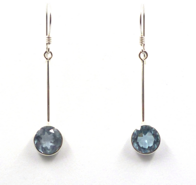 Blue Topaz,Turquoise, Amethyst or Moonstone Sterling Silver Drop Earrings