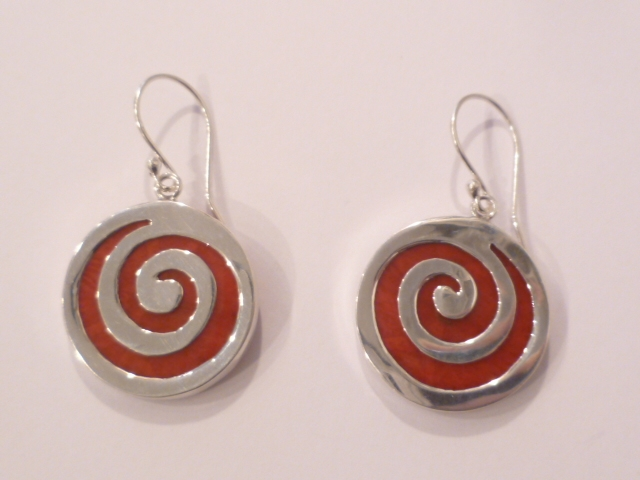 Sterling Silver & Red Coral Spiral Earrings