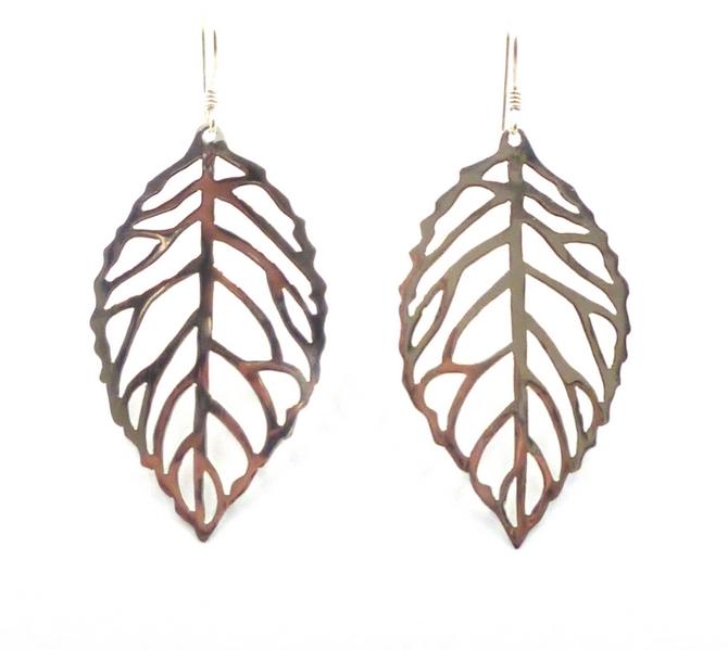 Sterling Silver Leaf Earrings (L)