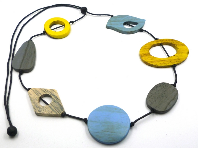 Blue/Yellow/Grey Cutout Necklace