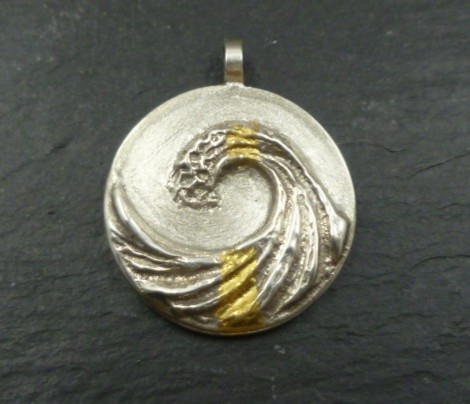Sterling Silver Wave Pendant with 24 CT Gold