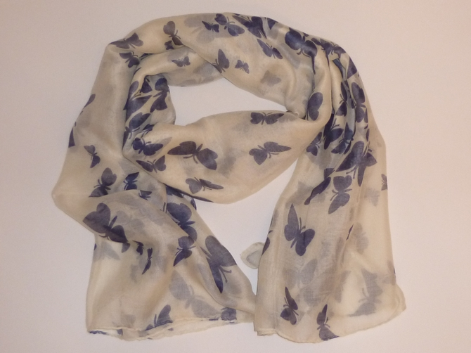Cream & Navy Butterfly Scarf