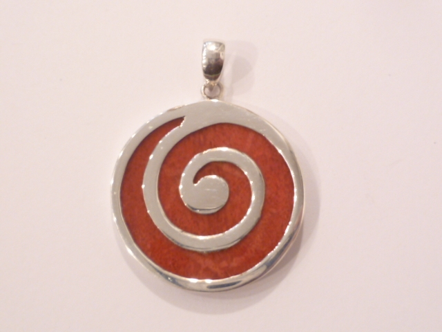 Sterling Silver & Red Coral Spiral Pendant