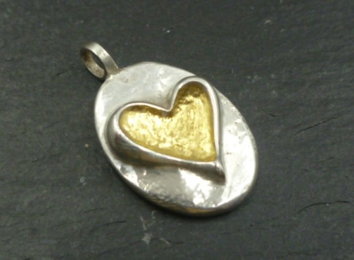 Sterling Silver Heart Pebble Pendant with 24 CT Gold