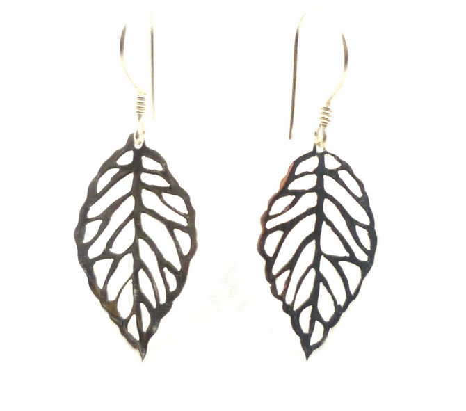 Sterling Silver Leaf Earrings (S)