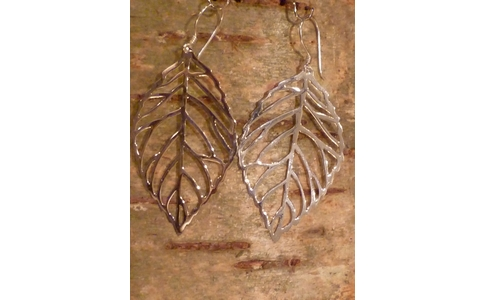 Silver Leaf Earrings (L)