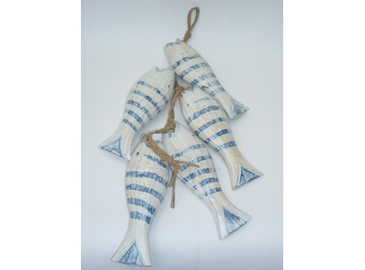 Set Of 5 Striped Wooden Fish