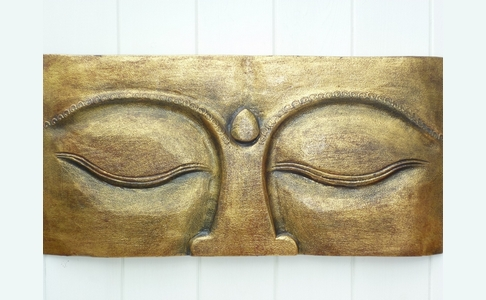 Gold Wooden Eyes Of Buddha Wall Plaque