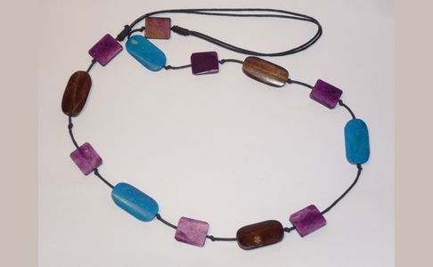 Turquoise, Purple & Brown Bone Necklace
