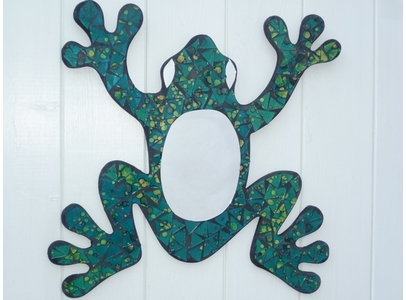 Green Frog Mosaic Mirror