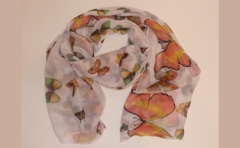 White, Pink & Green Butterfly Scarf