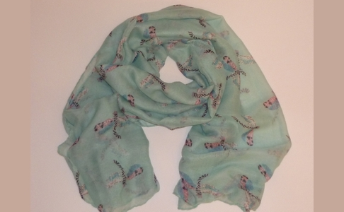 Mint Green Dragonfly Scarf