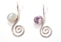 Sterling Silver Curl Pendant with Moonstone or Amethyst