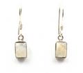 Sterling Silver Rectangle Gemstone Earrings (S)
