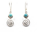 Sterling Silver Curl Earrings with Lapiz Lazuli & Turquoise